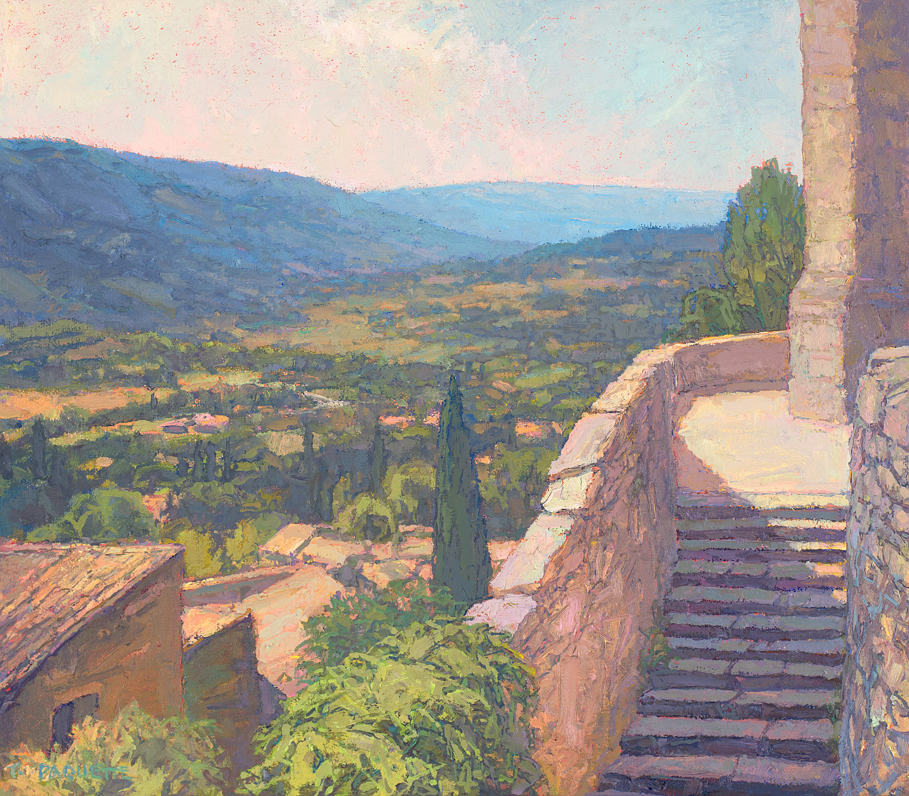 contemporary landscape oil painting of distance view from eglise at Bonnieux, Luberon Valley, France
