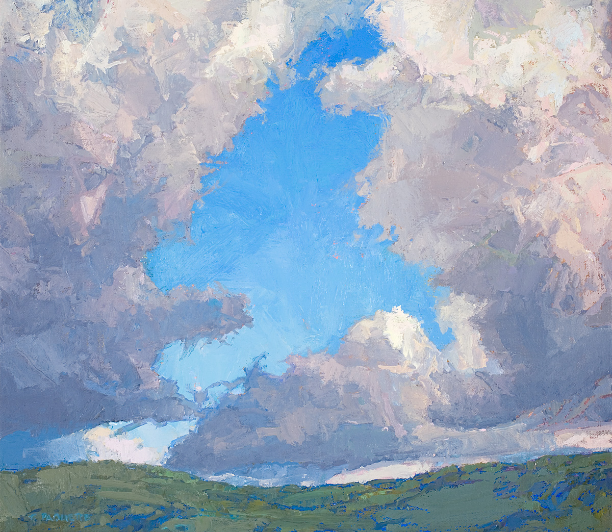contemporary landscape oil painting of clouds over mountain ridge by Thomas Paquette