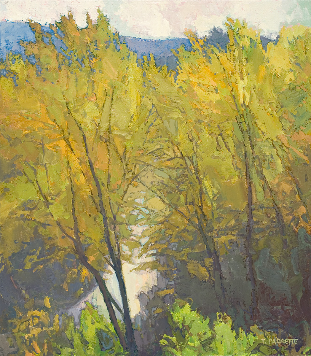 contemporary landscape oil painting of trees with a peek of road
