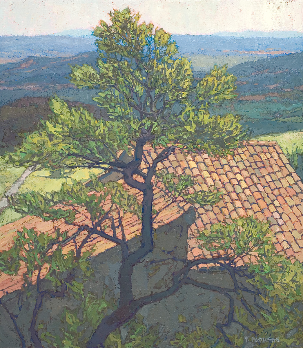 contemporary landscape oil painting of view in Luberon valley, France