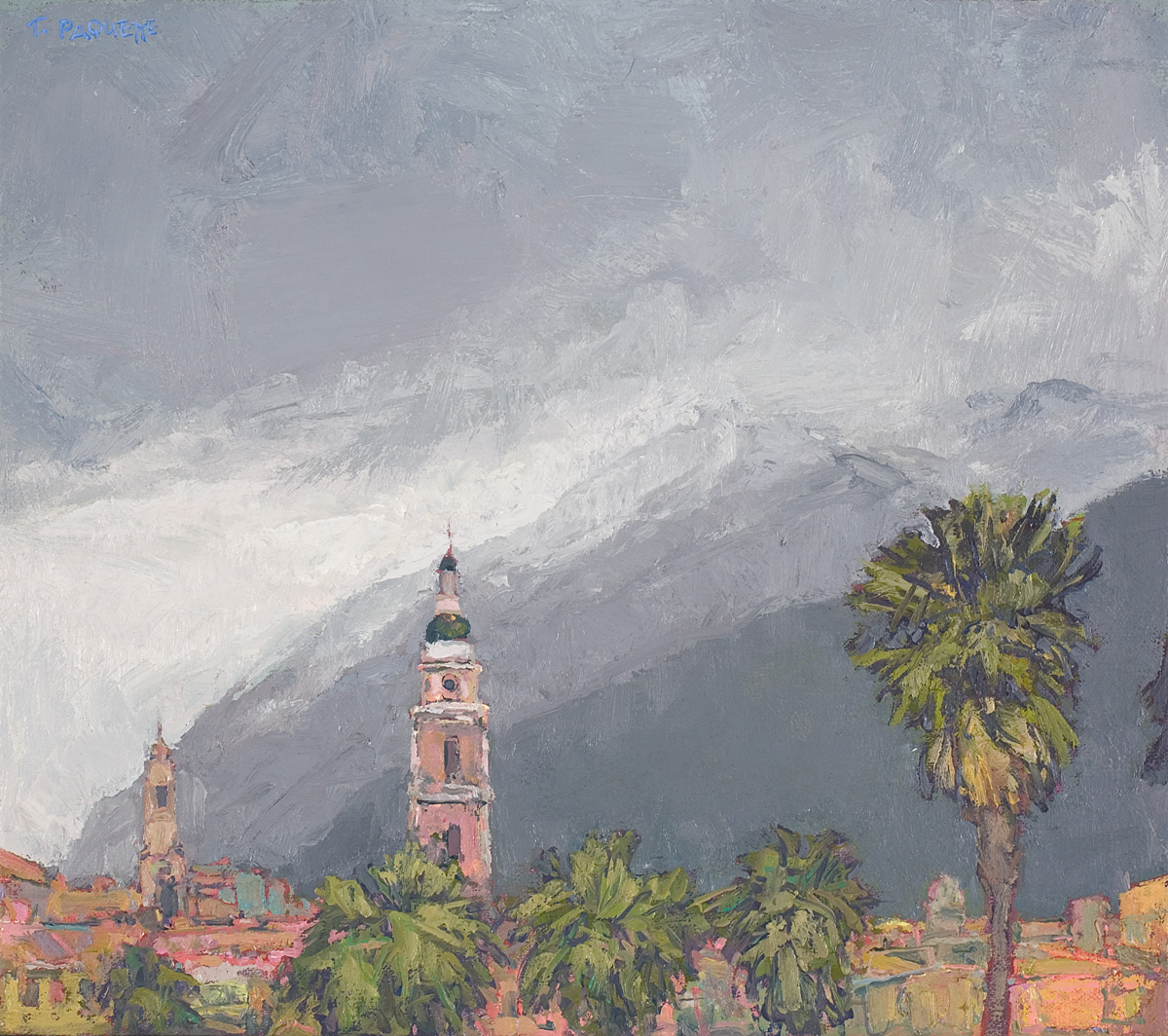 contemporary landscape oil painting of Menton, France