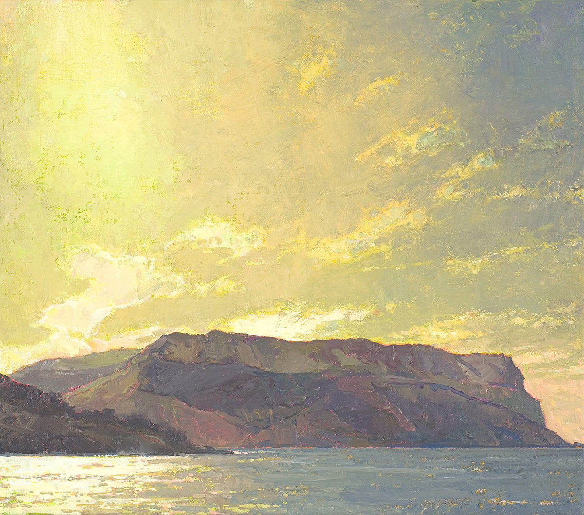 contemporary landscape oil painting of headland near Cassis, France