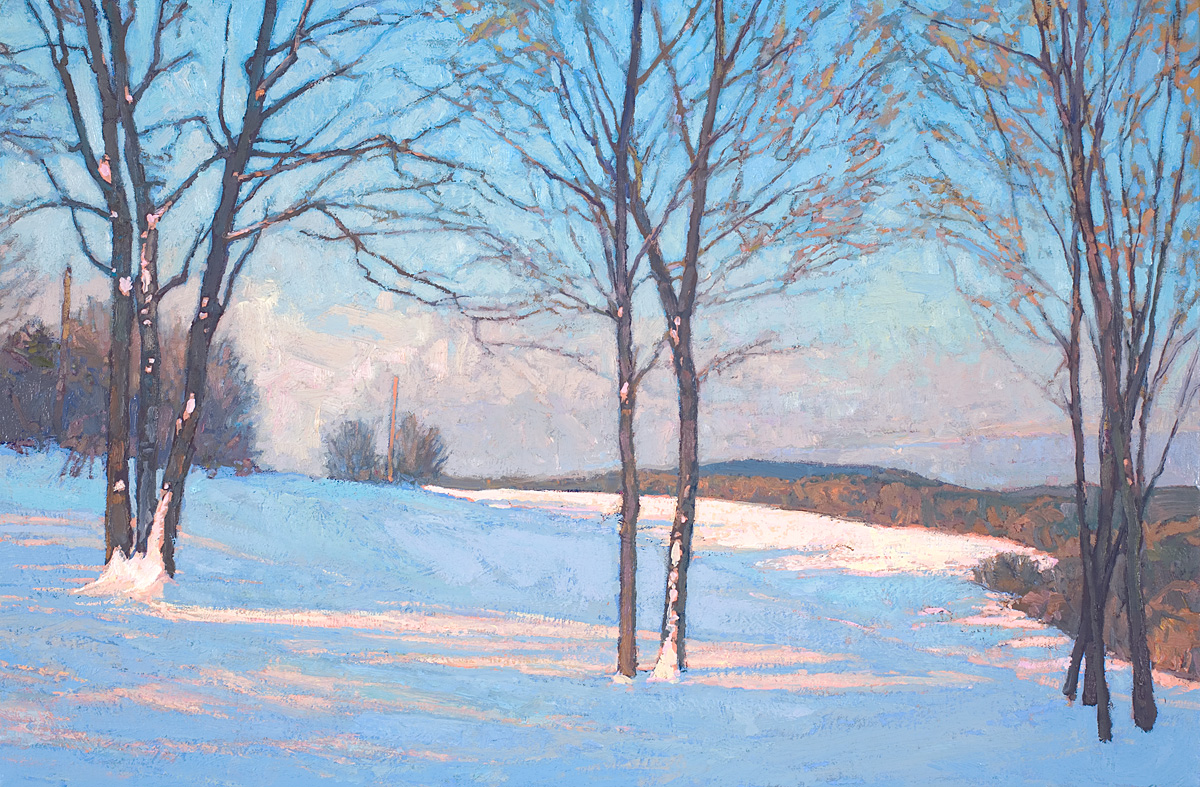 contemporary landscape oil painting of the artist's view from home