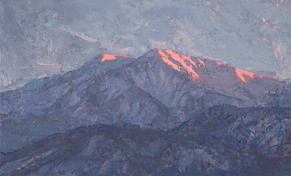 contemporary landscape oil painting of evening light on Mt Sopris, Colorado