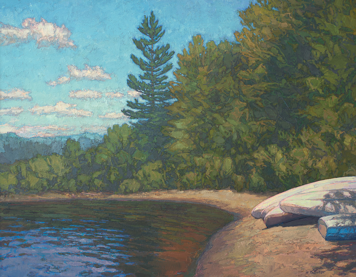 Canoes beached at wilderness lake, contemporary landscape oil painting by Thomas Paquette