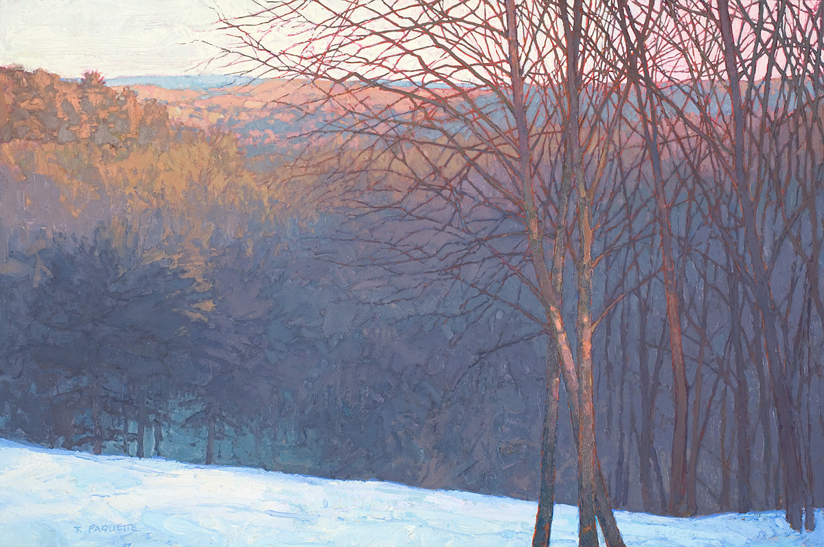contemporary landscape oil painting of the artist's home view