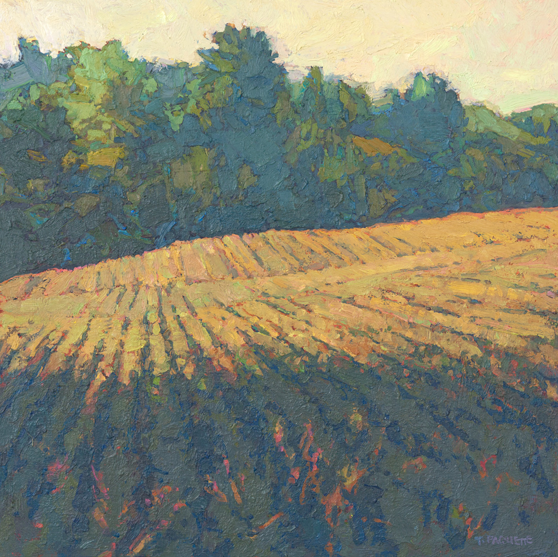 contemporary landscape oil painting of rural row crops