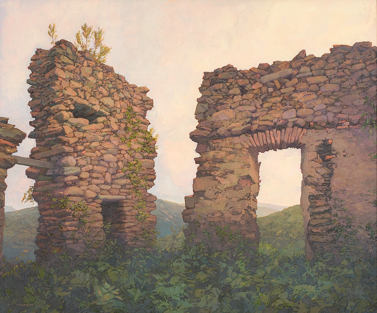 large contemporary landscape oil painting of ruins of the monastery of Chartreuse de la Verne, Collobrieres, France