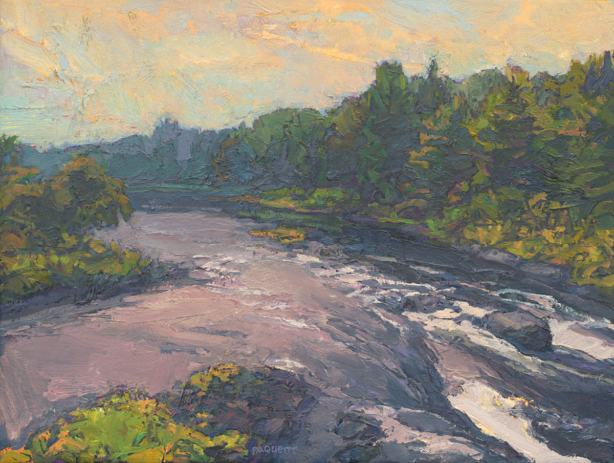 contemporary landscape oil painting of northern Maine river