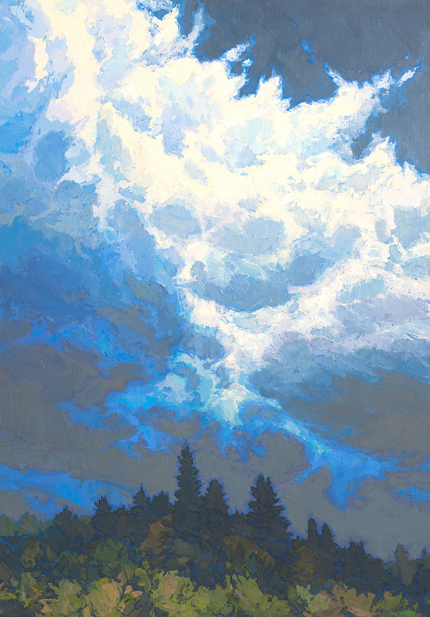 contemporary landscape / cloudscape oil painting of northern Maine