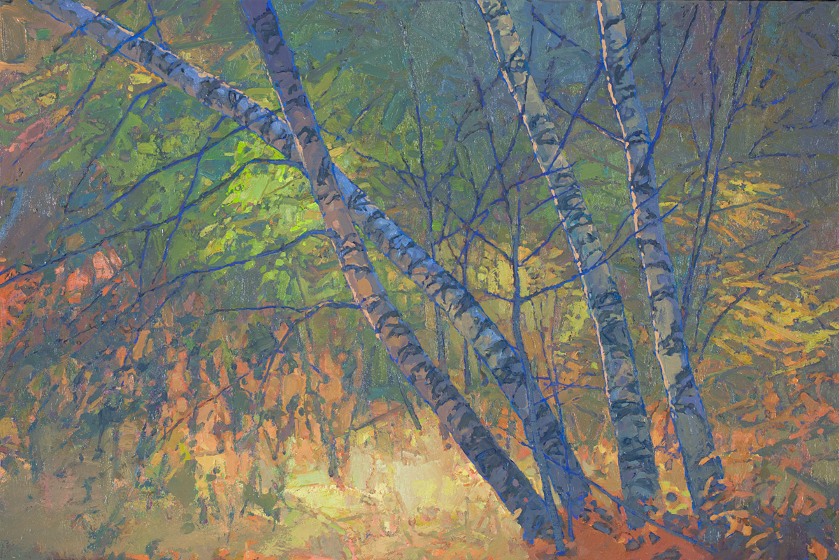 contemporary landscape oil painting of birches