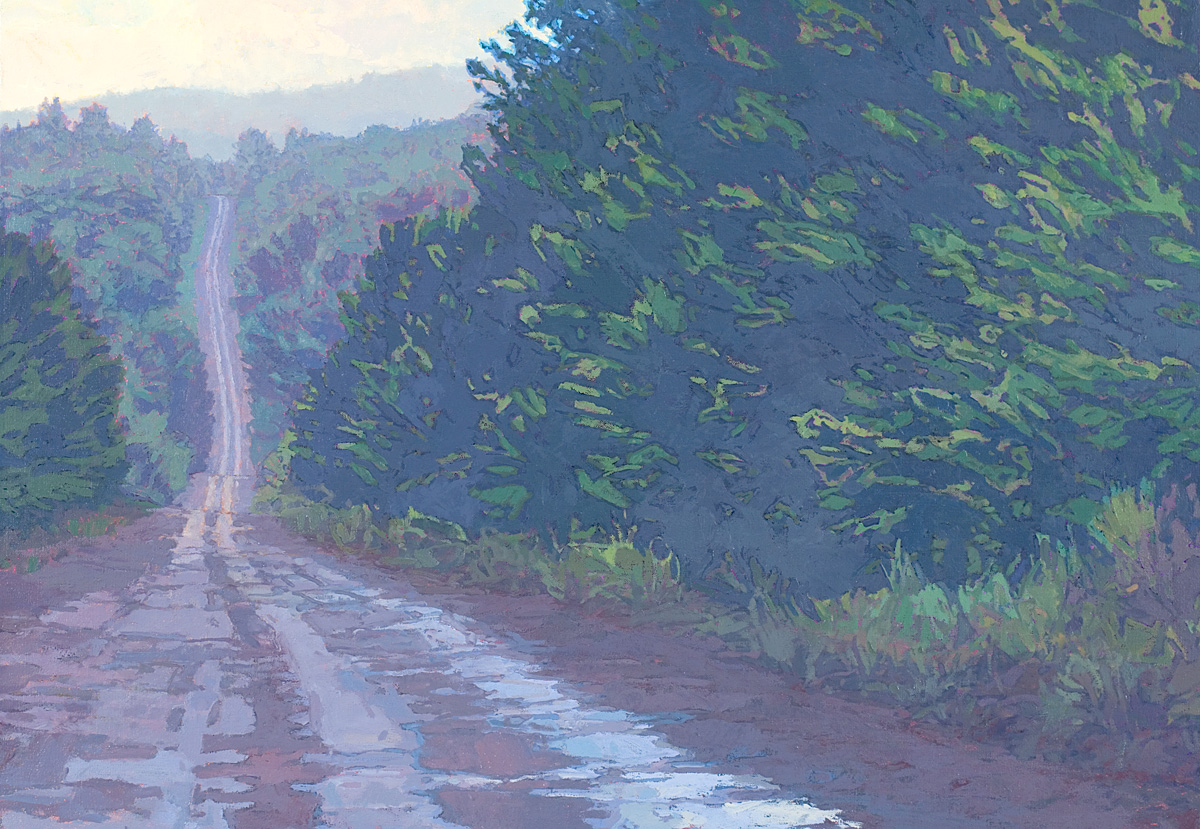 Muddy forest road, contemporary landscape oil painting by Thomas Paquette