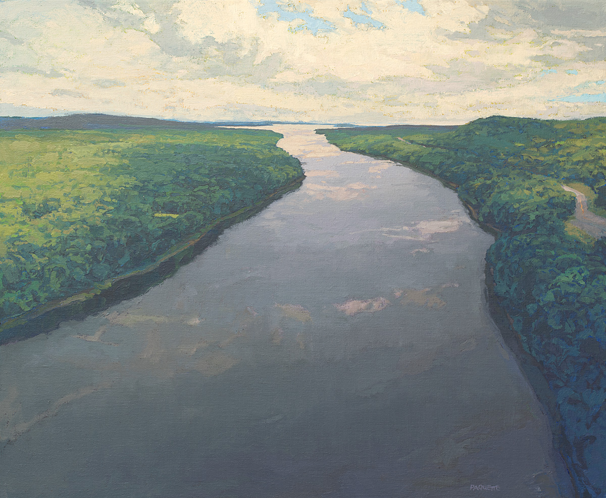 Penobscot River reaching the sea, contemporary landscape oil painting by Thomas Paquette