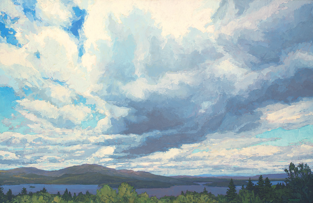 Moosehead Lake clouds, contemporary landscape oil painting by Thomas Paquette