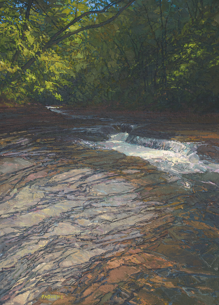 contemporary landscape oil painting of Chautauqua Gorge, New York