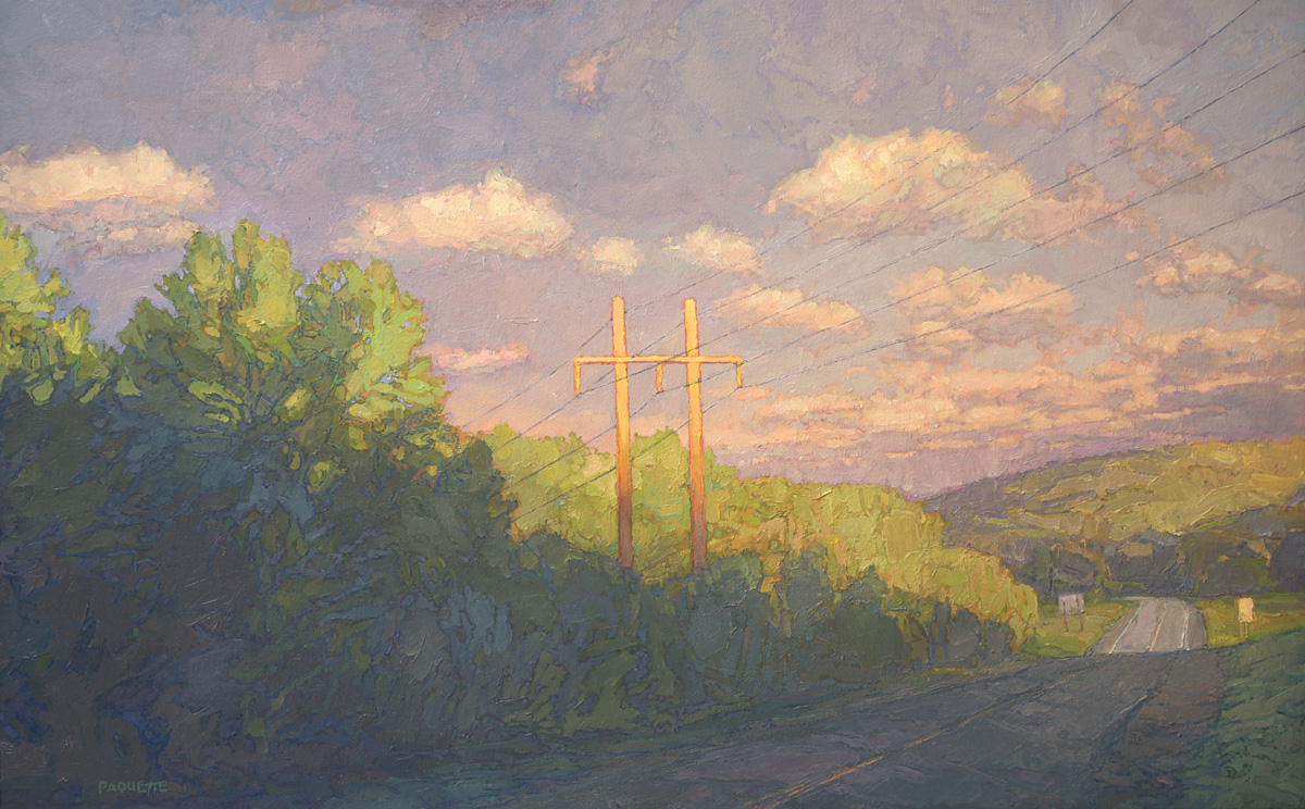 Roadway and powerlines at sundown, contemporary landscape oil painting by Thomas Paquette