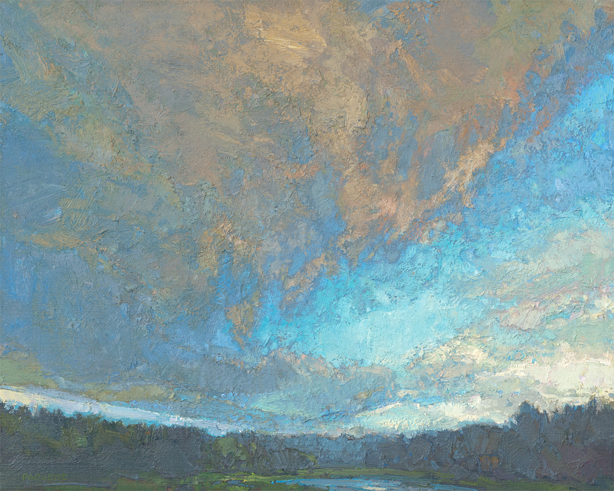 contemporary cloudscape/ landscape oil painting of northern wilderness