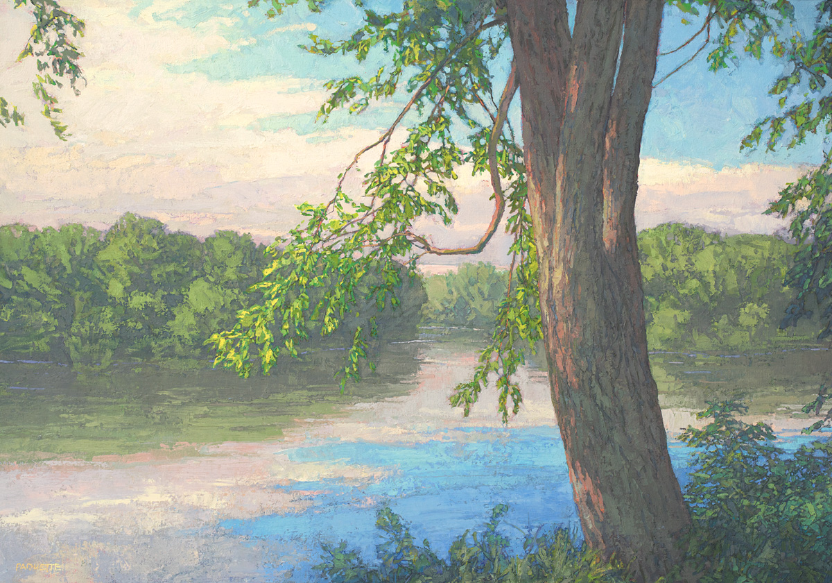 River landscape oil painting by Thomas Paquette