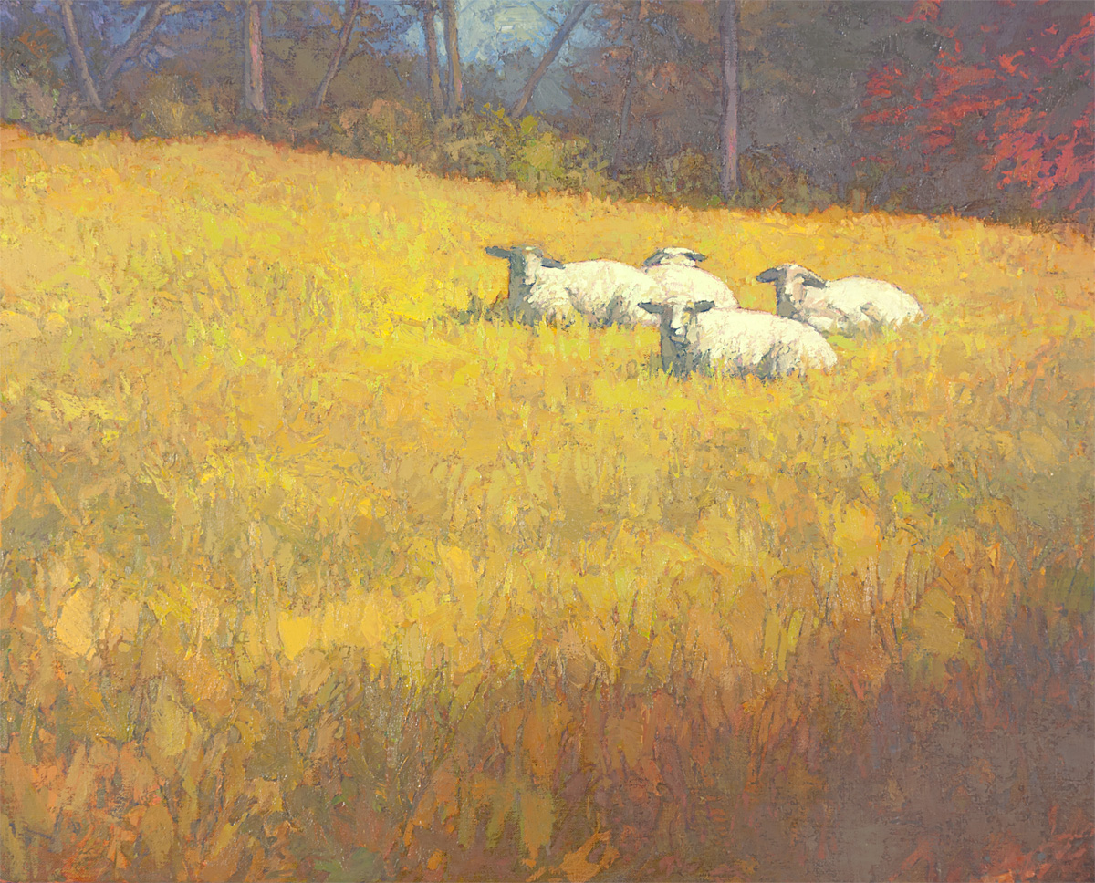 contemporary landscape oil painting of sheep at rest in field