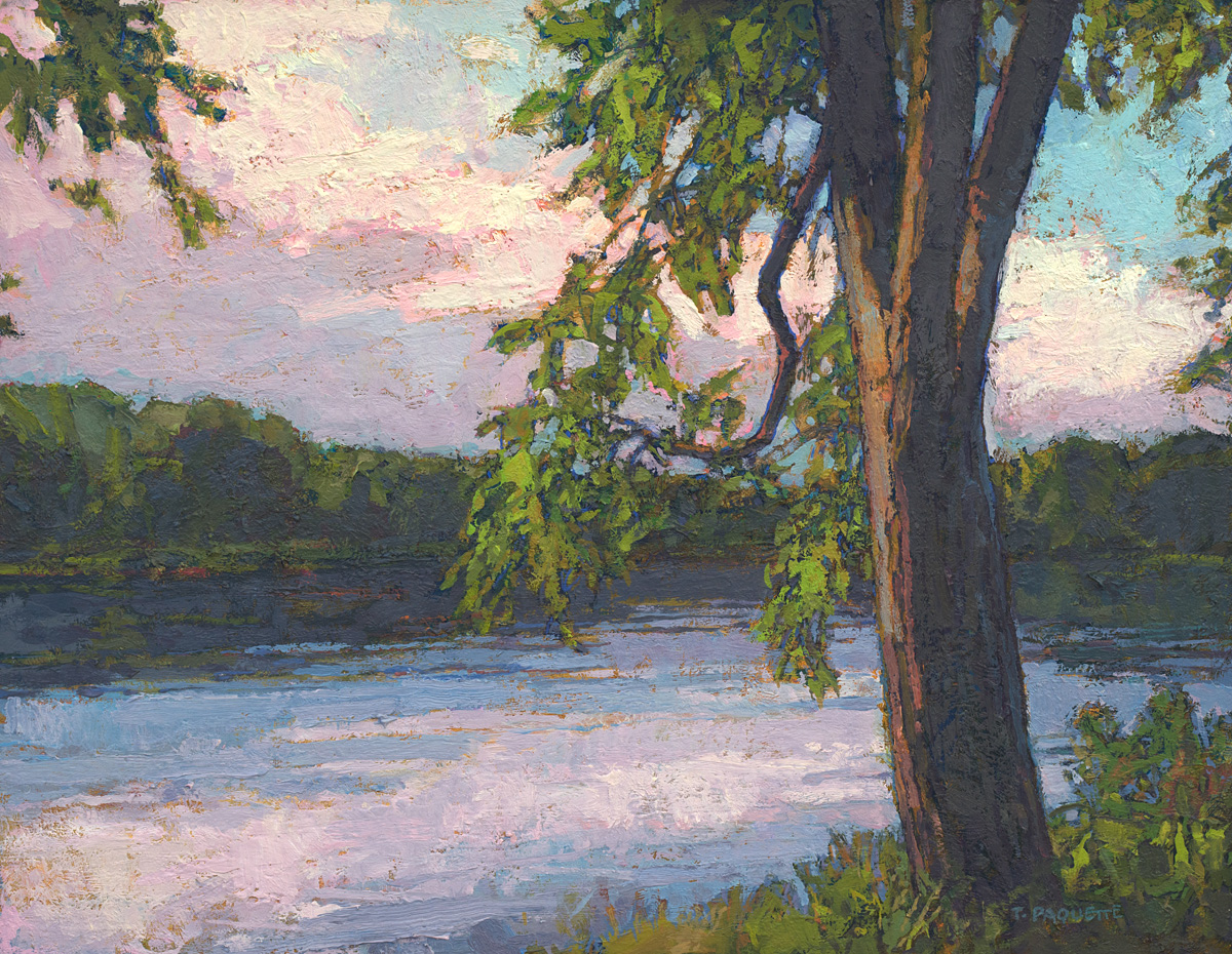 contemporary landscape oil painting of Penobscot River