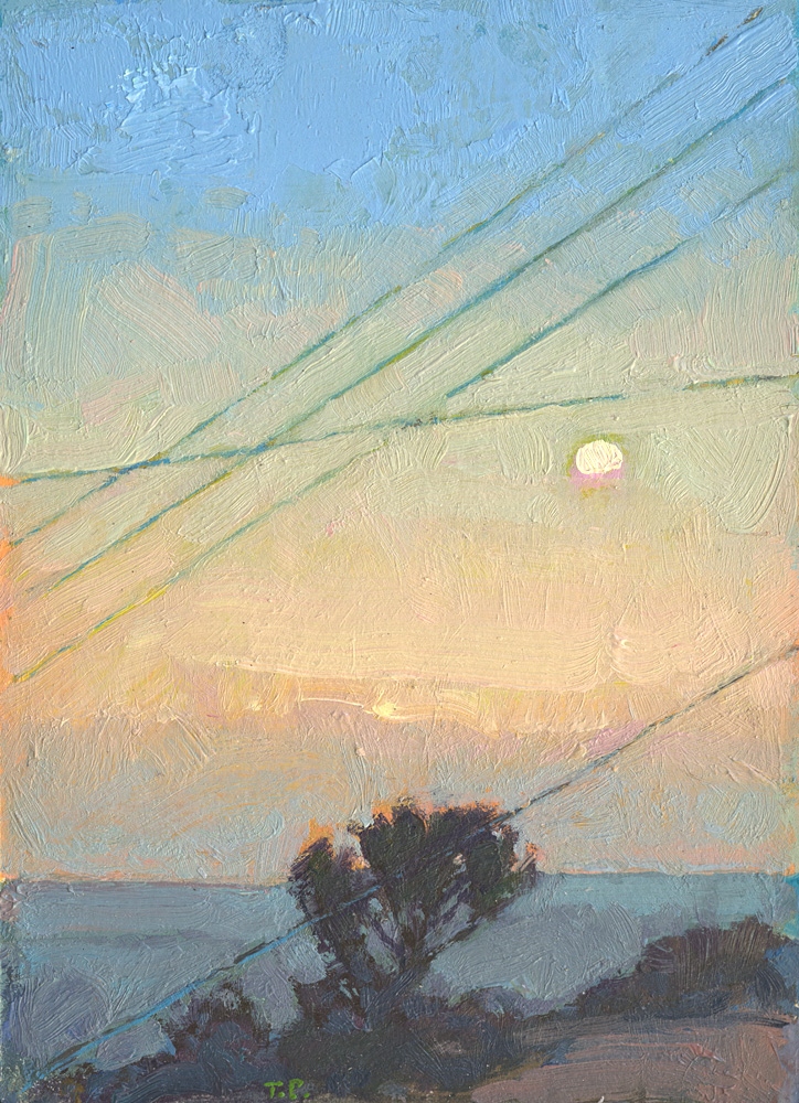 tiny contemporary landscape oil painting of moonrise on Samos island, Greece