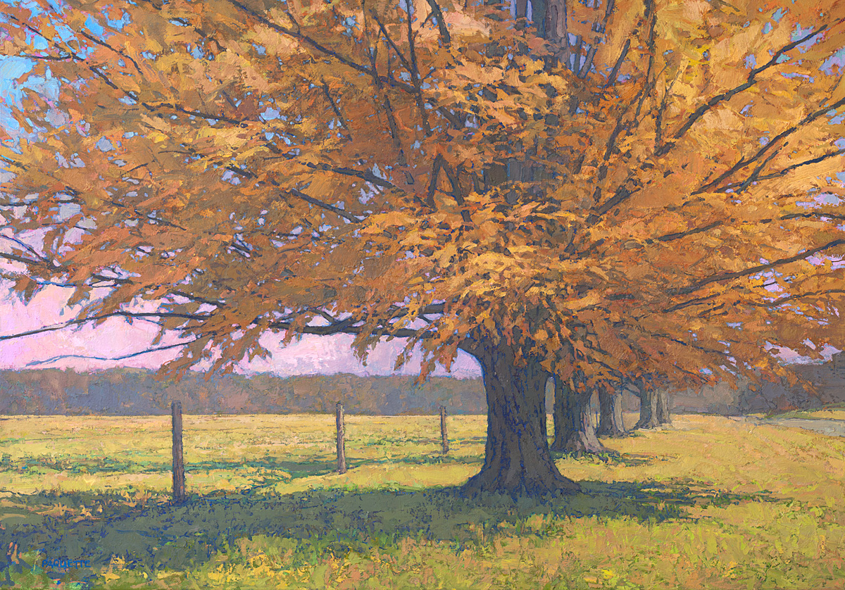 contemporary landscape oil painting of maple trees in fall