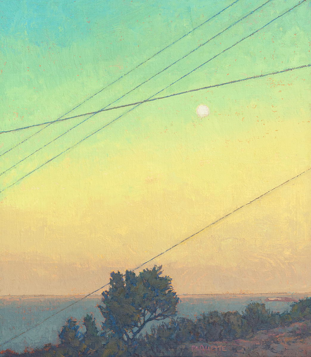 contemporary landscape oil painting by Thomas Paquette of moonrise on the island of Samos, Greece