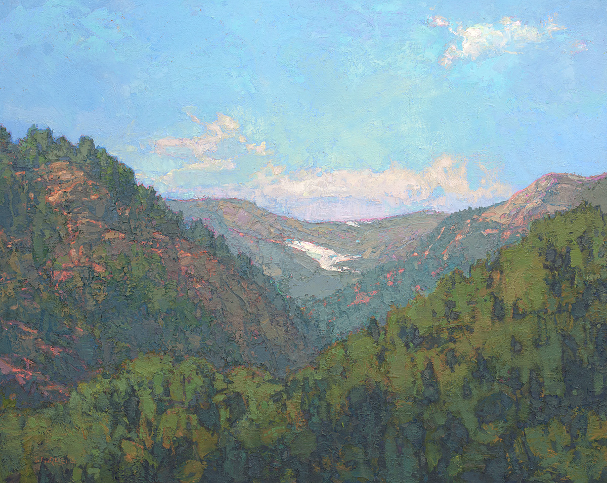 contemporary landscape oil painting of wilderness area in the Ragged Mountains, Colorado