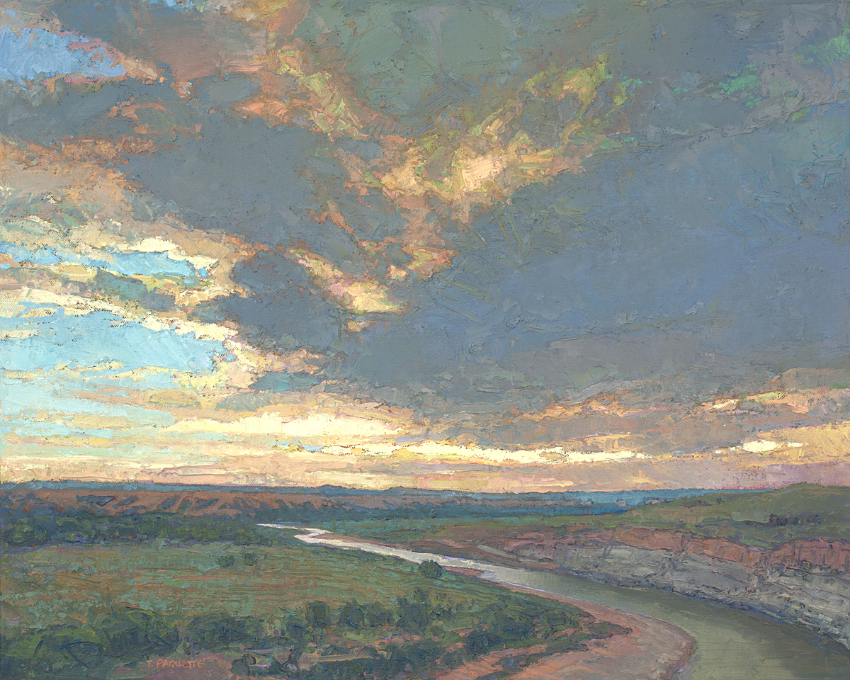 contemporary landscape oil painting of wilderness area in Theodore Roosevelt National Park