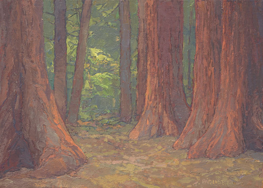 contemporary landscape oil painting of sequoia in Yosemite National Park