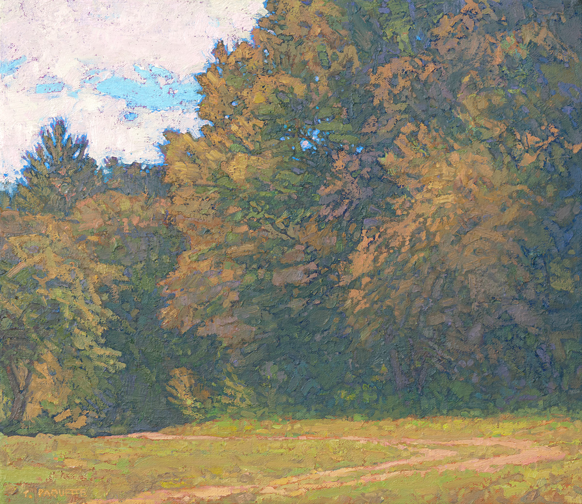 contemporary landscape oil painting of trees at field's edge
