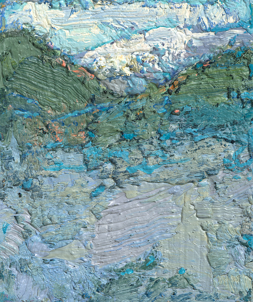 tiny contemporary landscape oil painting of Alps in France