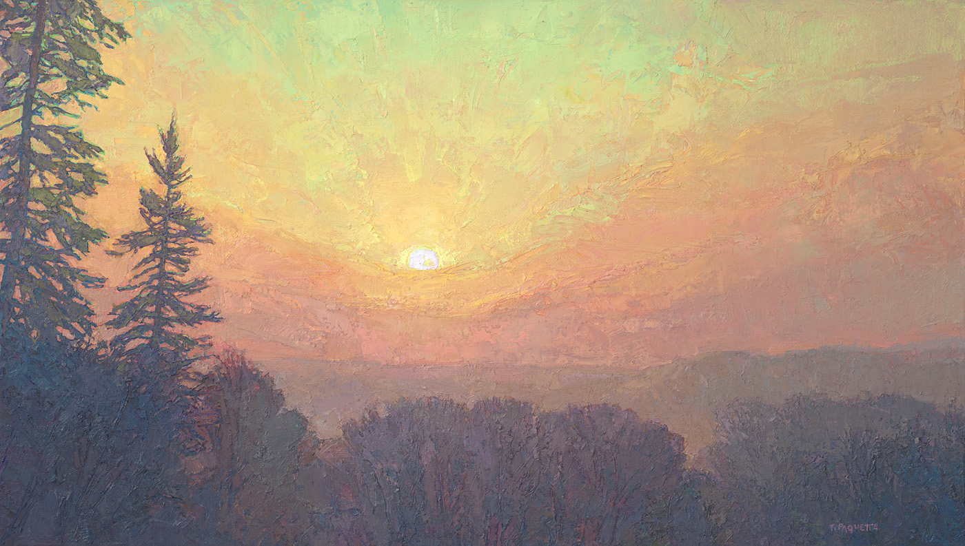 contemporary landscape oil painting sunrise
