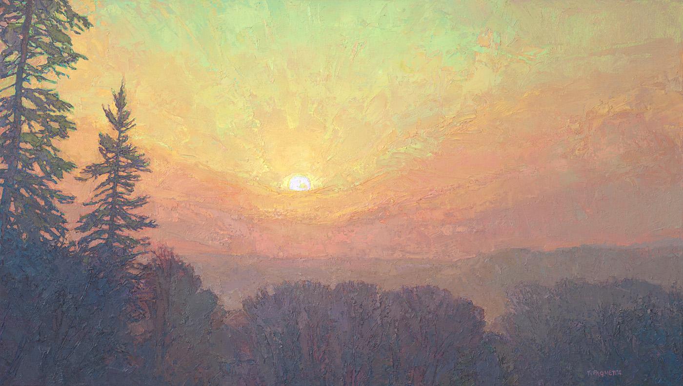 contemporary landscape oil painting sunrise