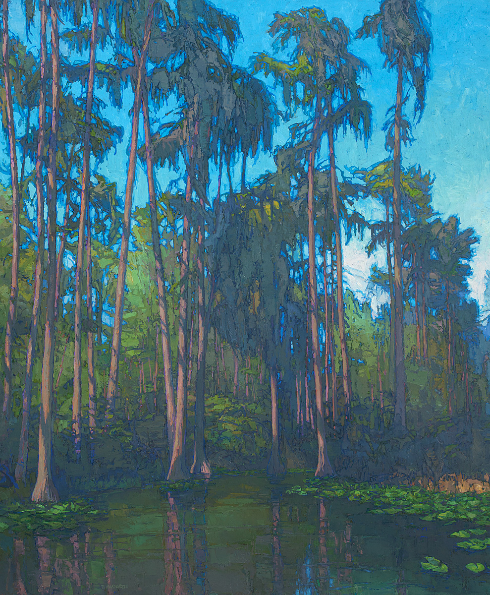 contemporary landscape oil painting of Okefenokee Swamp cypress trees