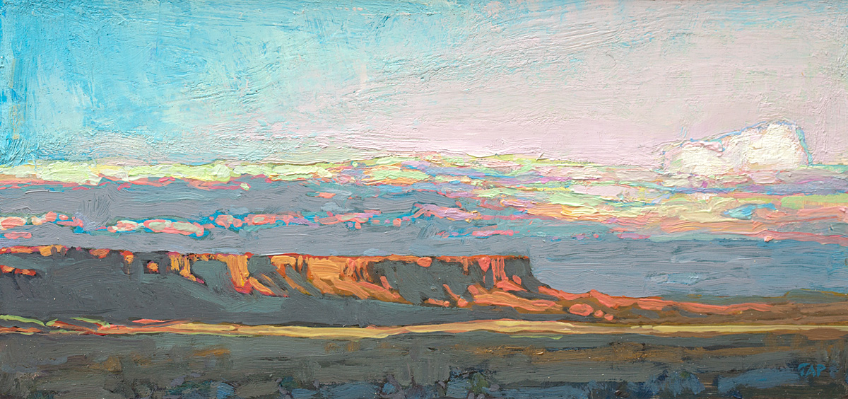 tiny contemporary landscape oil painting of Vermilion Cliffs, AZ