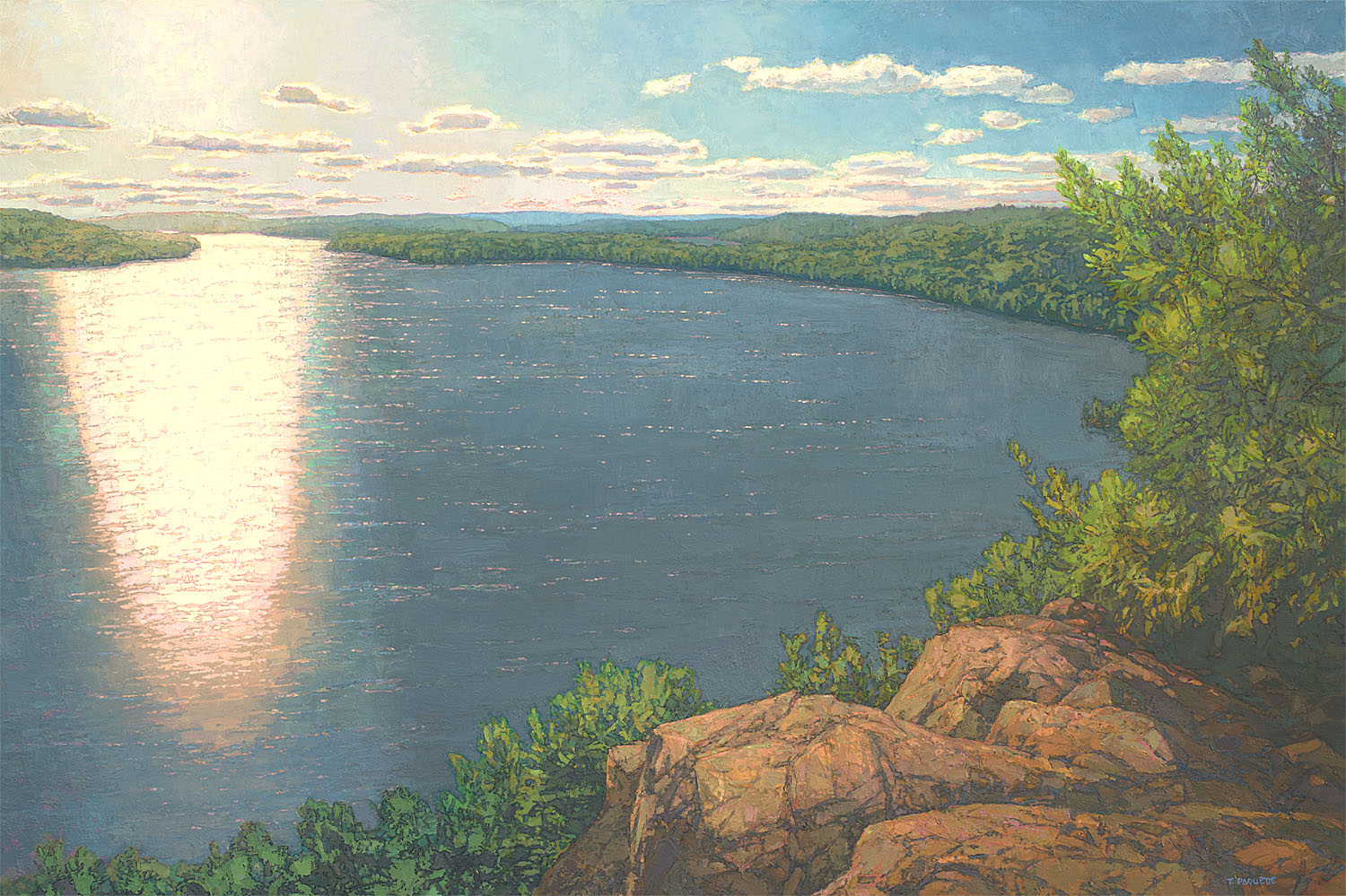 Honeymoon Lake overlook, contemporary landscape oil painting by Thomas Paquette