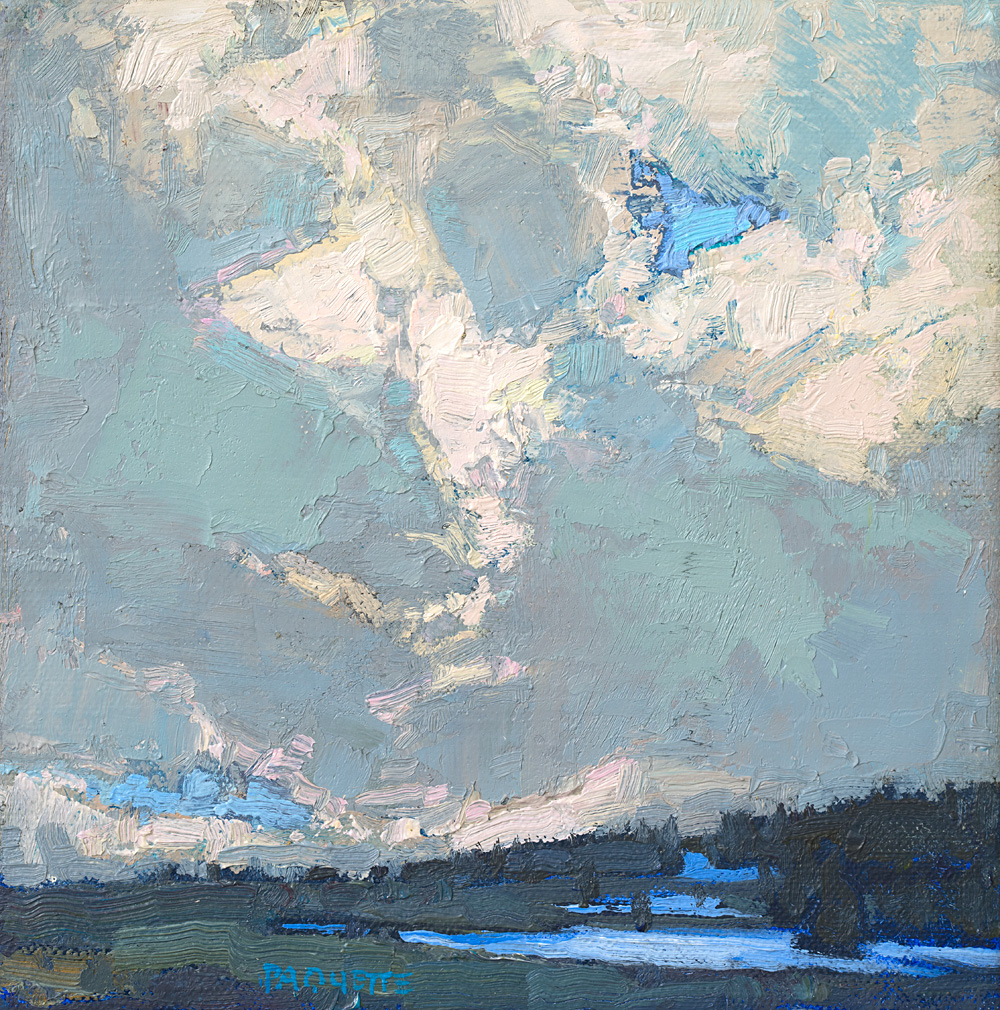 tiny contemporary landscape oil painting of Cloud Peak Wilderness clouds