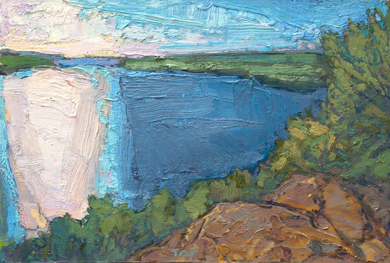 tiny contemporary landscape oil painting of northern Minnesota lake