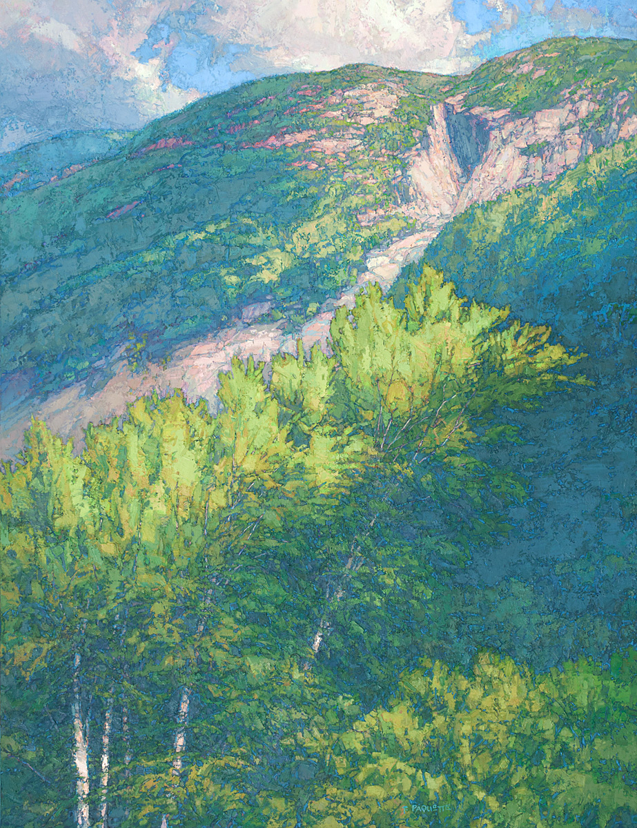 Forested cliff in New Hampshire at the edge of wilderness in Franconia Notch