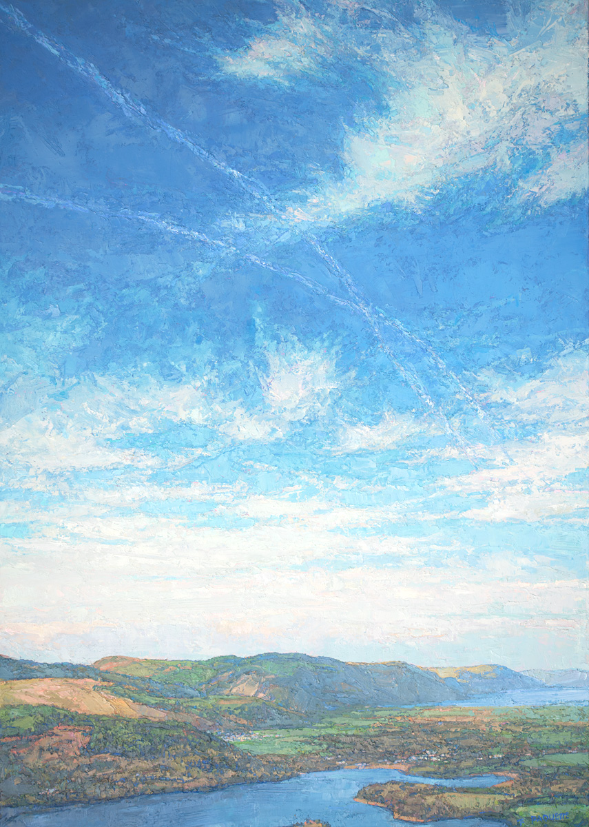 contemporary landscape oil painting of Derwentwater, Lake District, UK