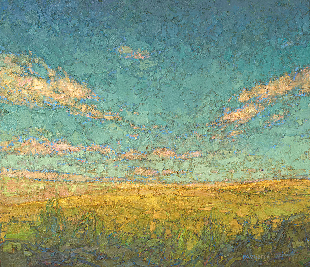 small contemporary landscape oil painting of prairie, T. Roosevelt National Park
