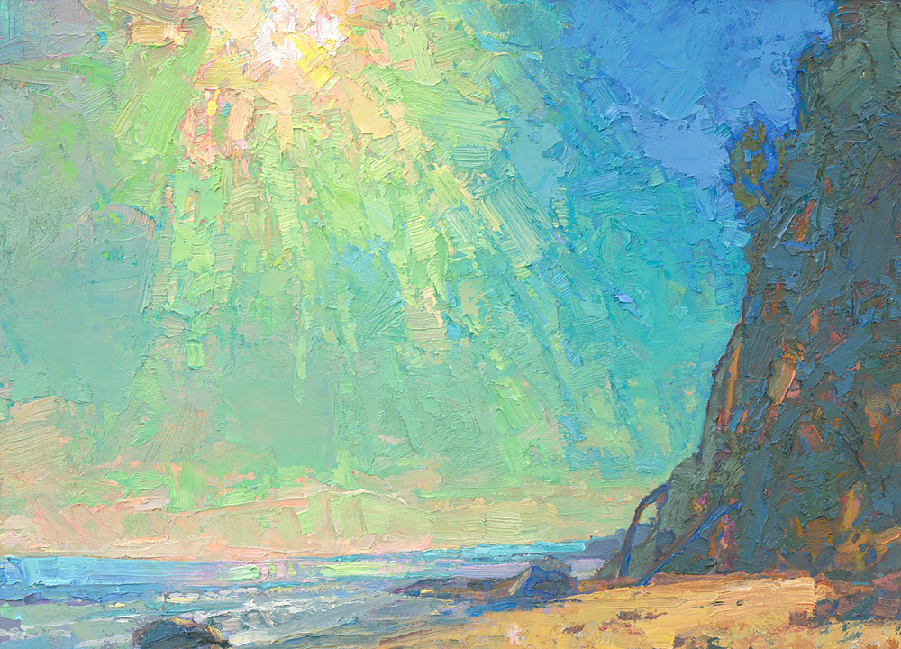 small contemporary landscape oil painting of Santa Barbara beach
