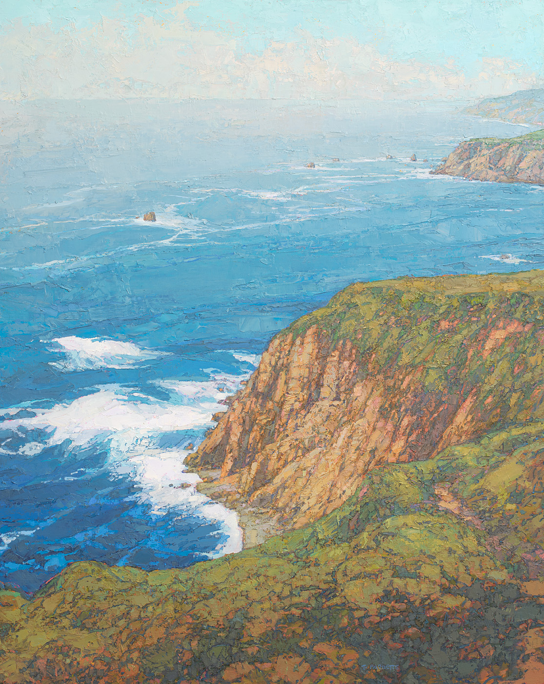 contemporary landscape oil painting of California coastal cliffs