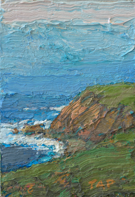 tiny contemporary landscape oil painting of coastal California