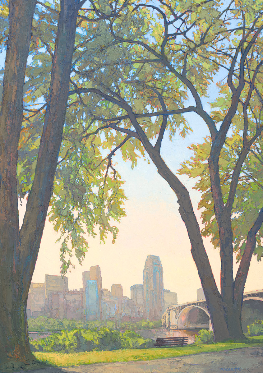 contemporary landscape oil painting of downtown Minneapolis