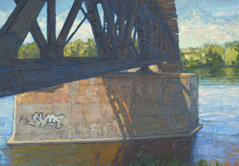 contemporary oil painting of Mississippi River - Minneapolis, St Paul area