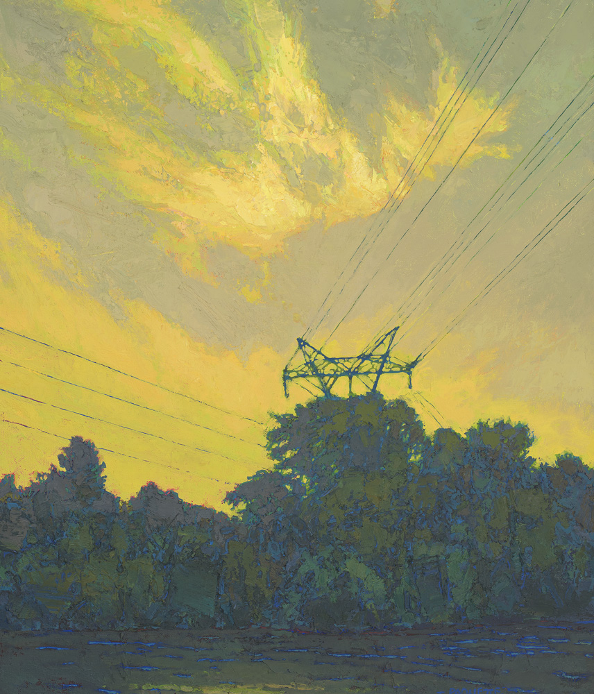 contemporary oil painting of Mississippi River - Minneapolis, St Paul area, St Anthony Falls electricity generating station