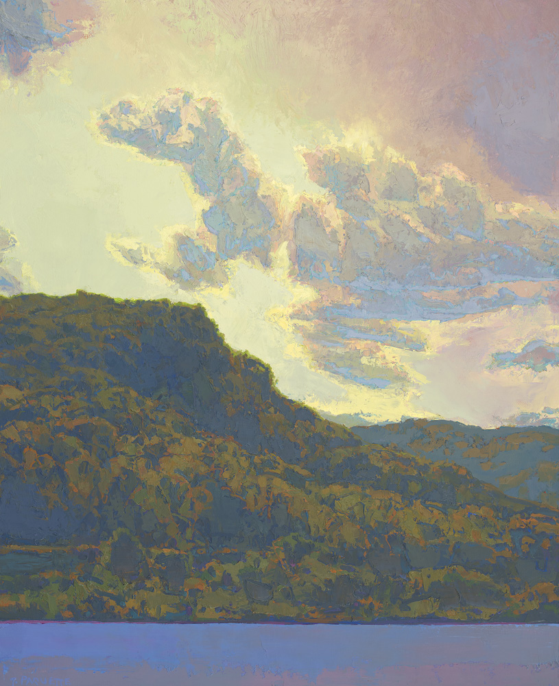 Clouds over Mississippi River bluffs oil painting Winona MN
