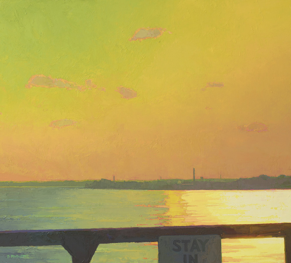 """""""STAY IN"""" Mississippi River oil painting near Burlington, IA"""